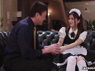 Beautiful Japanese wench Anna Kimijima gets hairy pussy banged missionary