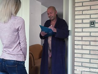 Crazy old fart gets to fuck a pretty young inclusive and that cookie is so dear