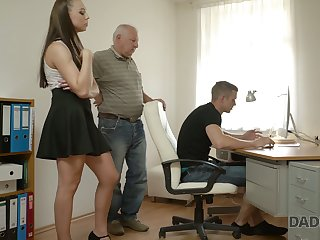 Naughty young chick Ornella is number one on their way boyfriend with his grandpa