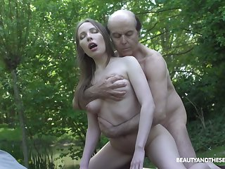 Pale Russian natural girl Lina Mercury is fucked hard by horny fisher