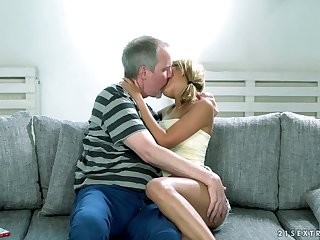 Lovely blond babe Sarah Cute gets will not hear of pussy licked together with fucked by elderly man