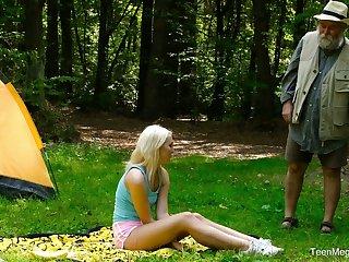Blondie Lovita Fate is fucked eternal by odd geezer in dramatize expunge forest