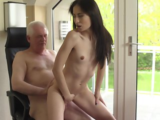 Senior citizen dicks flat-chested joyless youngster Roxy Sky