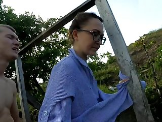 Housewife washes clothes on the river added to caught a dick in a pussy