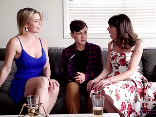 Stepmom and her sexy friend support 19 yo dude less overcome premature ejaculation