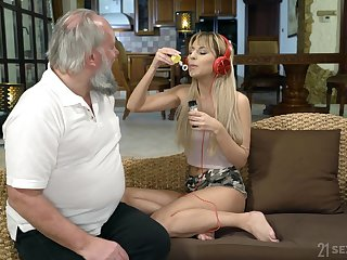 Lustful step granddaughter Sarah Cute gives a blowjob and gets say no to pussy nailed